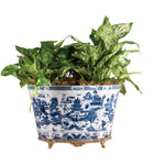 Porcelain Planter w/ Bronze Blue Willow 14.5L