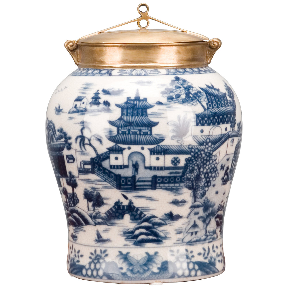 Porcelain Jar w/ Lid Blue Willow 10H