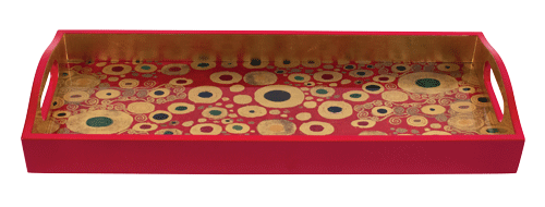 Viennese Nouveau Red Lacquer Bar Tray 20x8