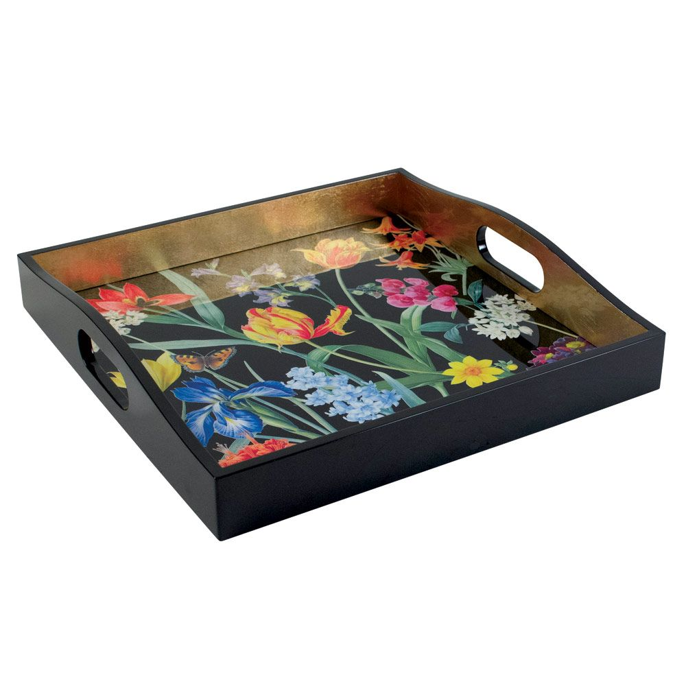 Redoute Floral Blk Tray 14x14