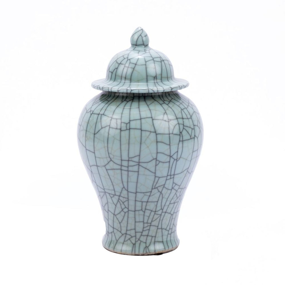 Crackle Celadon Temple Jar Small 15h