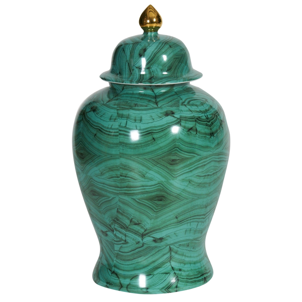 Malachite Green Temple Jar 16.5h