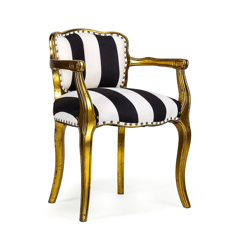 B&W Striped Arm Chair 22x20x30h