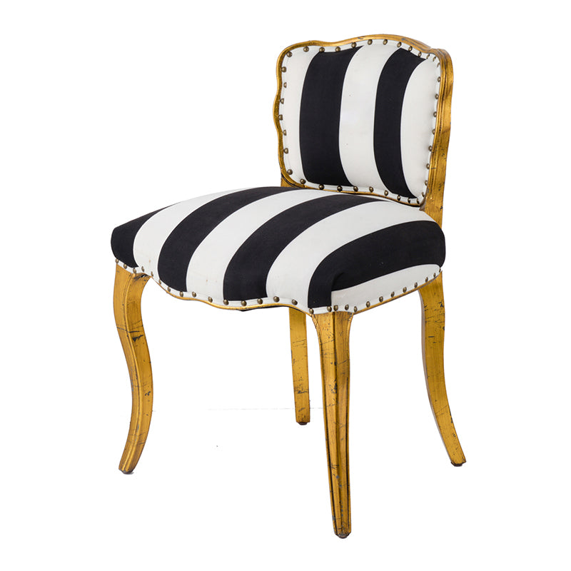 B&W Striped Side Chair 21x21x30h