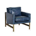 Blue Leather Club Chair 28W x 33.5D x 31H
