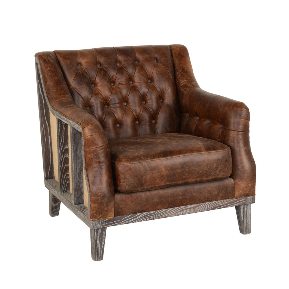 Leather Club Chair 33W 32D 33.5H