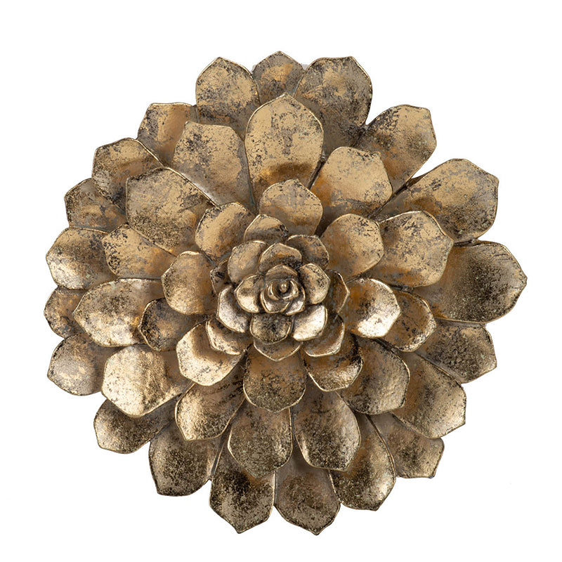 "Gold Succulent Wall Plaque 10""dia"