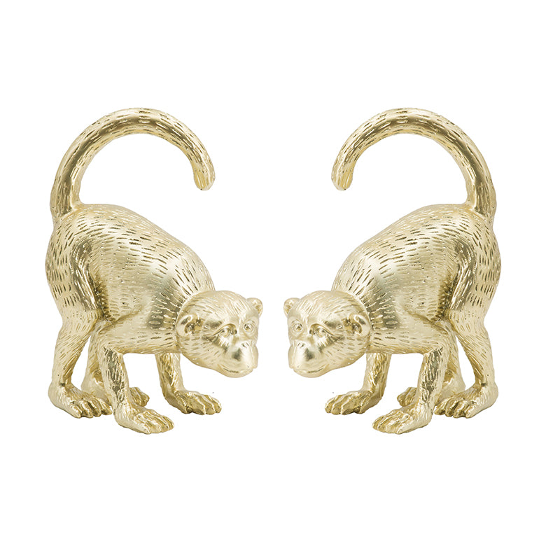 Gold Monkey Bookends S/2