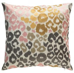 Multi Leopard Embroidery Pillow 22x22