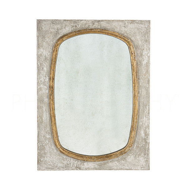 Oval Mirror Gold/White/Gray 36x48