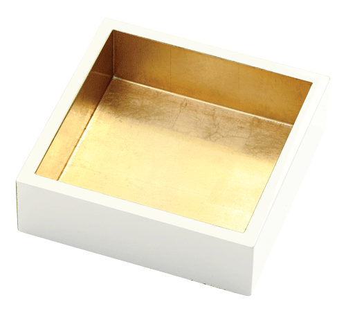Ivory with Gold Lacquer Cocktail Napkin Holder