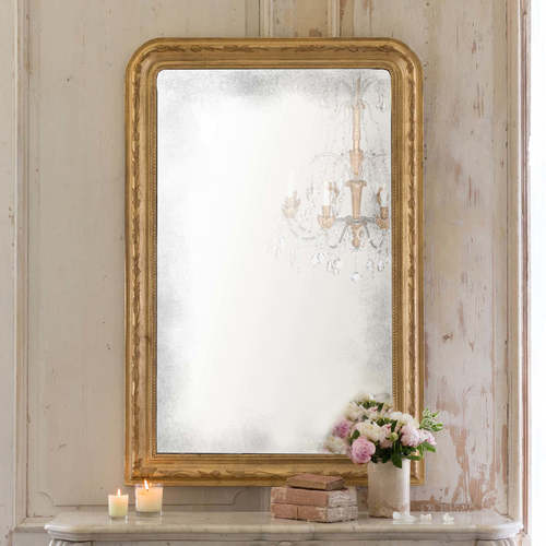 Louis Philippe Mirror Etched Gold 35x52