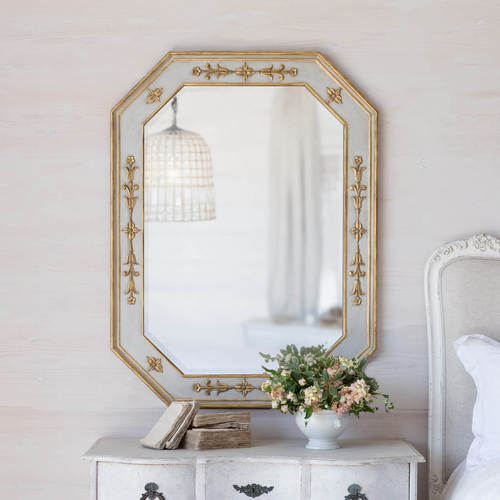 Tulipe Mirror in Grey & Gold 36x48
