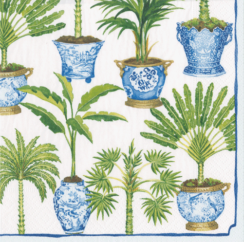 Potted Palms White Cocktail Napkins