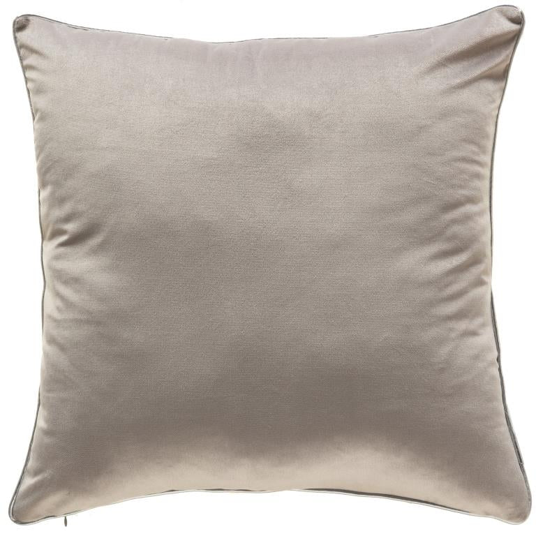 Grey Velvet w/ Silver Piping Pillow 24x24