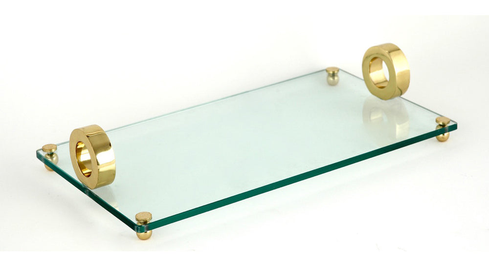 Gold Ring Glass Tray Rect. 9x16