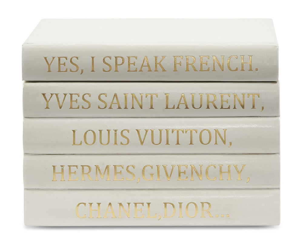 White Leather Box-French Quote