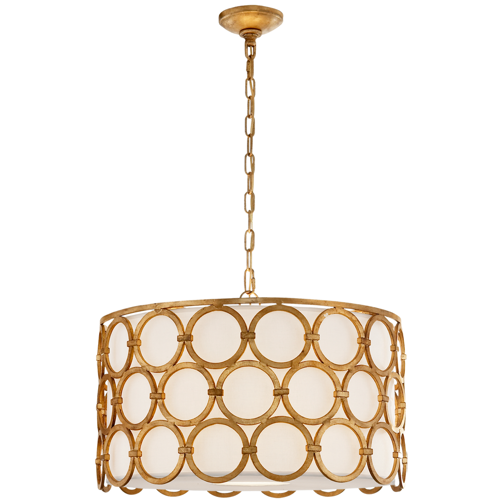 "Gilded Iron Hanging Shade 15.25""H 24.75""W"