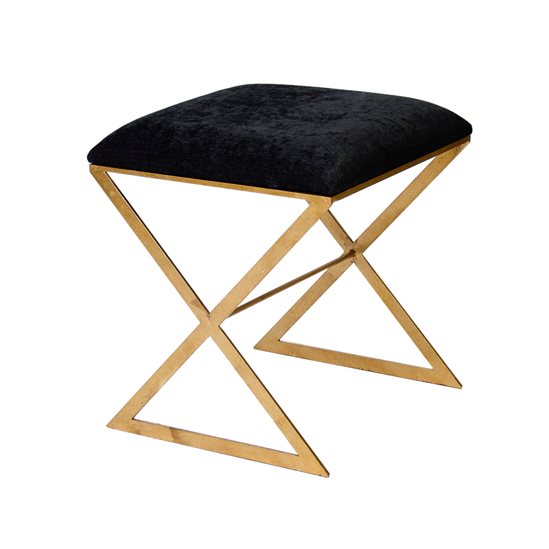 X Shape Bench Black Velvet 18x18x20h
