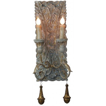 Carved Sconce Blue/Gold 8x20h