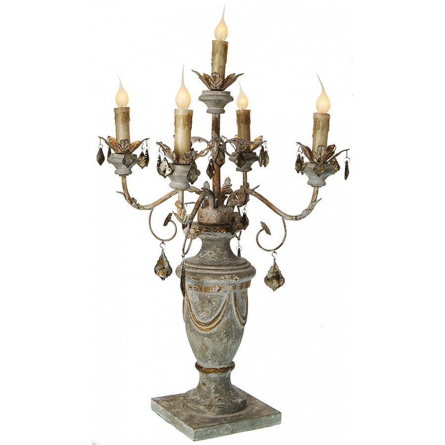 "Carved Candelabra w/ Crystals 32"" H"