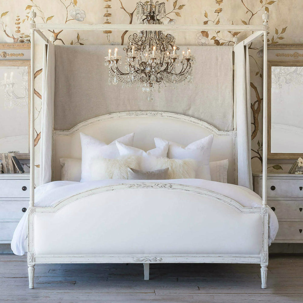 Dauphine Bed KING White Linen/Weathered White