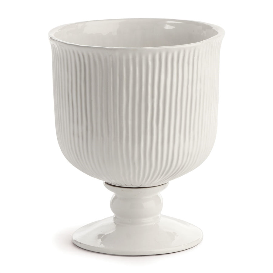 "Sinclair 11"" Footed Urn Wht"
