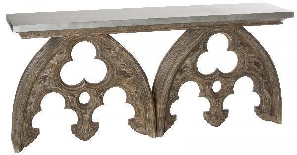 "Arched Cathedral Table 72""L 32""H 16""D"