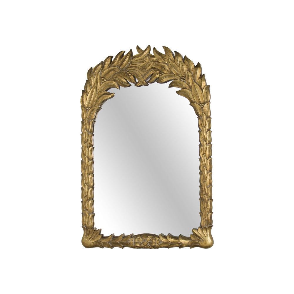 Leaf Motif Wooden Mirror in Gold Leaf 32x47