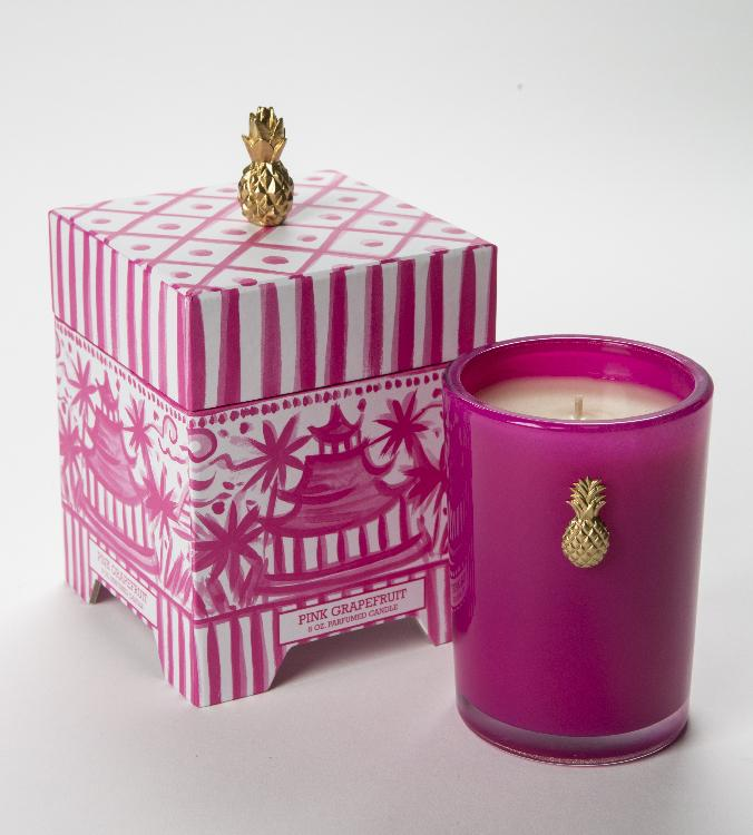 Pink Grapefruit Pagoda Candle 8 oz