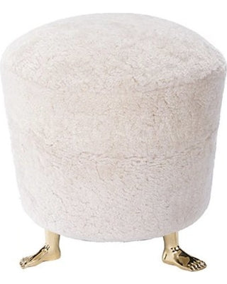Shearling Pouf with Feet 17x17