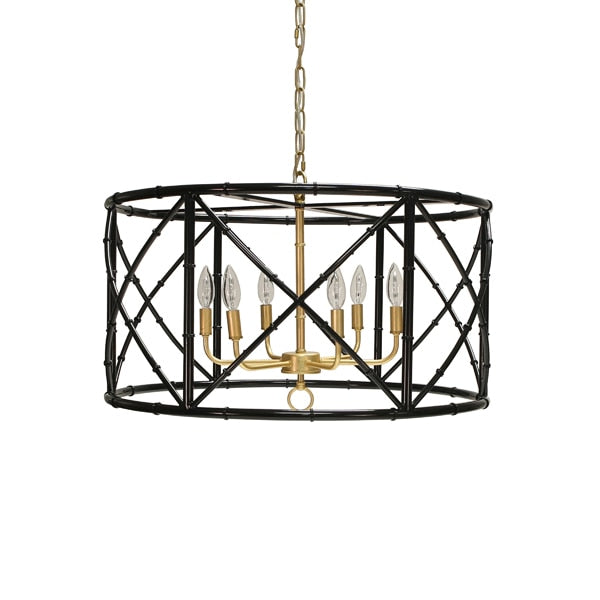 Black/Gold Bamboo Metal Chandelier 27dia17h