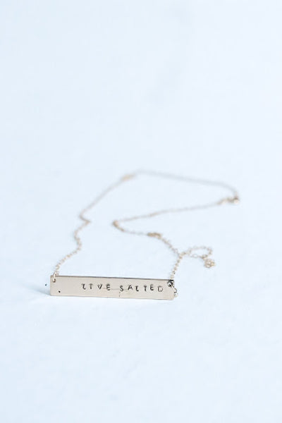 'Live Salted' Gold Bar Necklace
