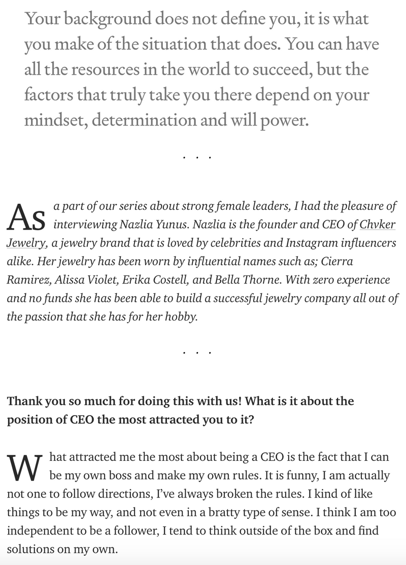 """5 things I wish someone told me before I became a CEO"" with Nazlia Yunus-Chvker Jewelry"