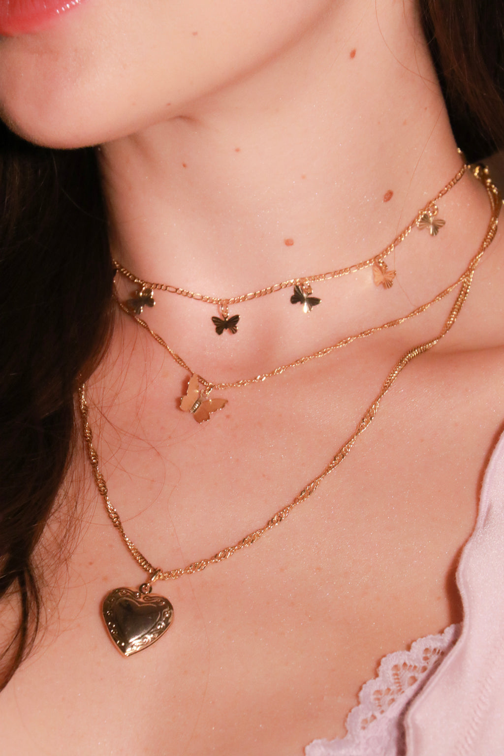 Butterfly Kisses Necklace - Gold Filled