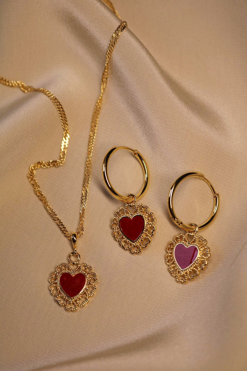 Red Queen Heart Necklace and Earrings