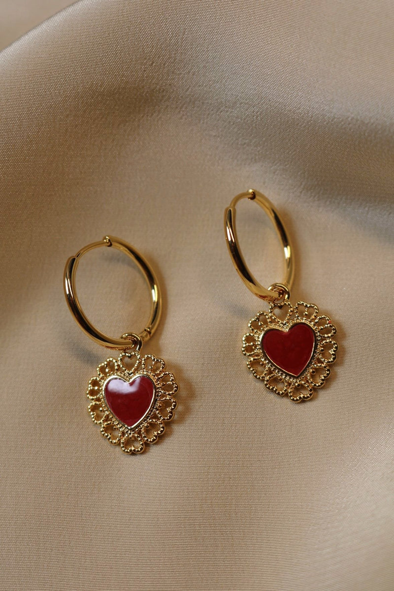 Gold Plated Red Heart Drops