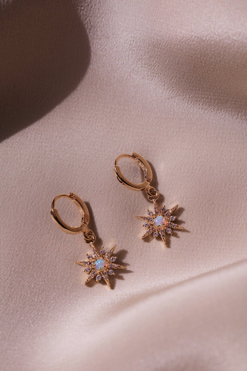 Gold Plated Star Earrings with Opal