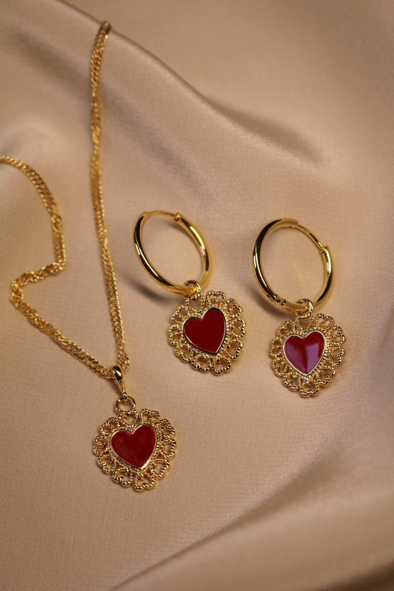 Red Queen Heart Jewelry Set