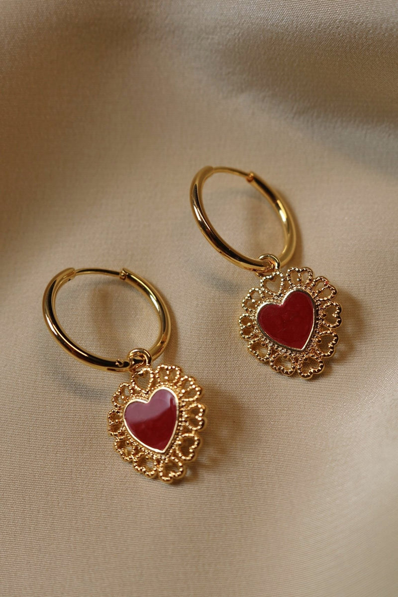 Gold Plated Red Heart Shaped Drops