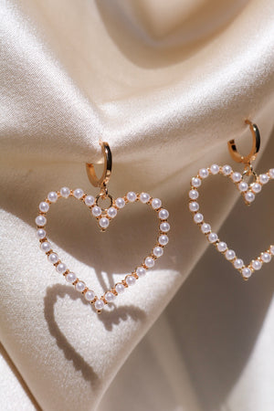 Gold Plated Pearl Heart Earrings