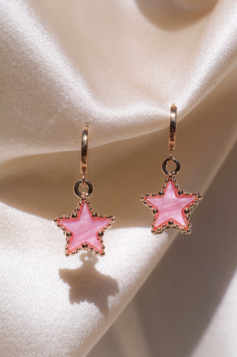 Cute Pink Star Drop Earrings