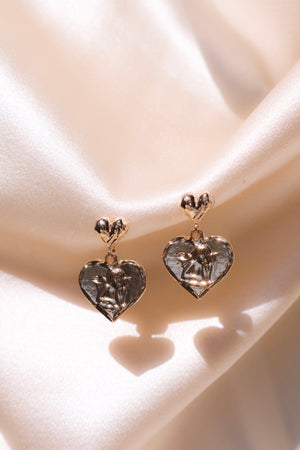 Gold Plated Heart Drops with Angel Engraving