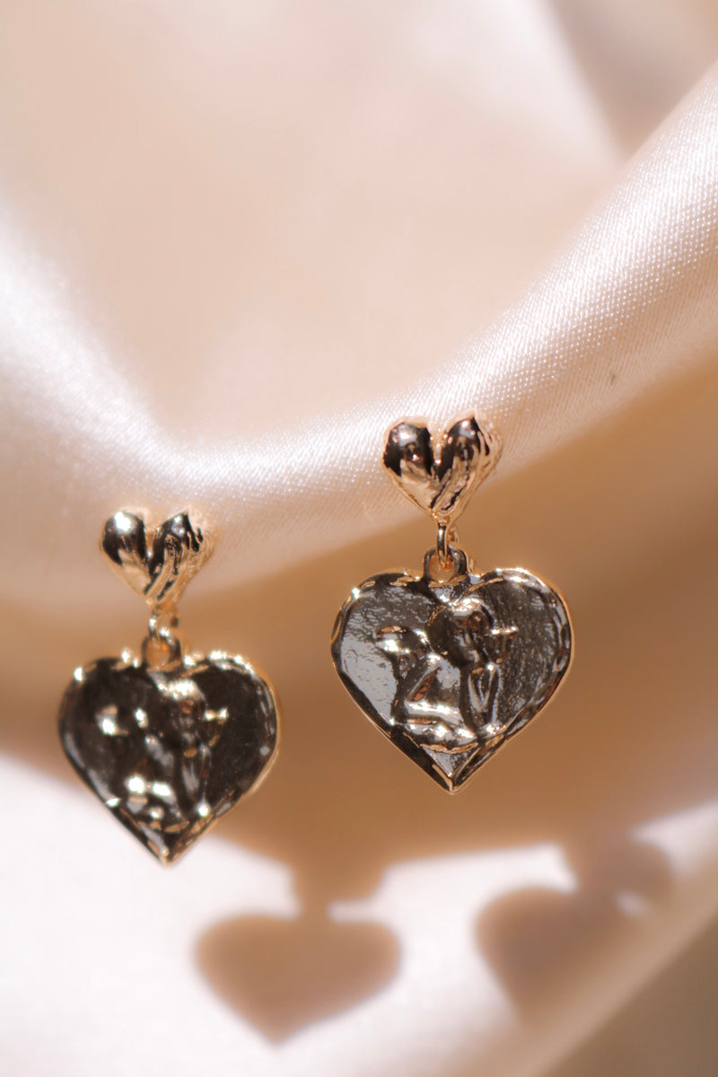 Angel Engraving on Gold Plated Heart Drop Earrings