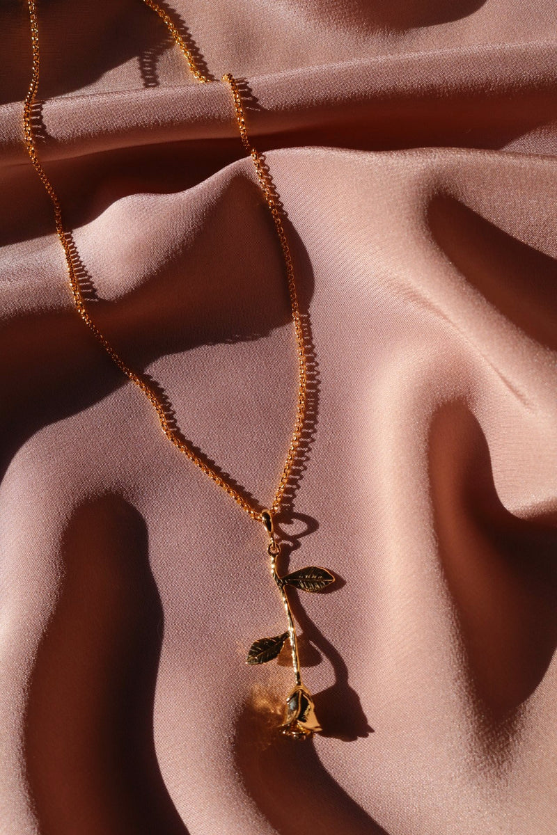 Gold Chain and Inverted Rose Pendant