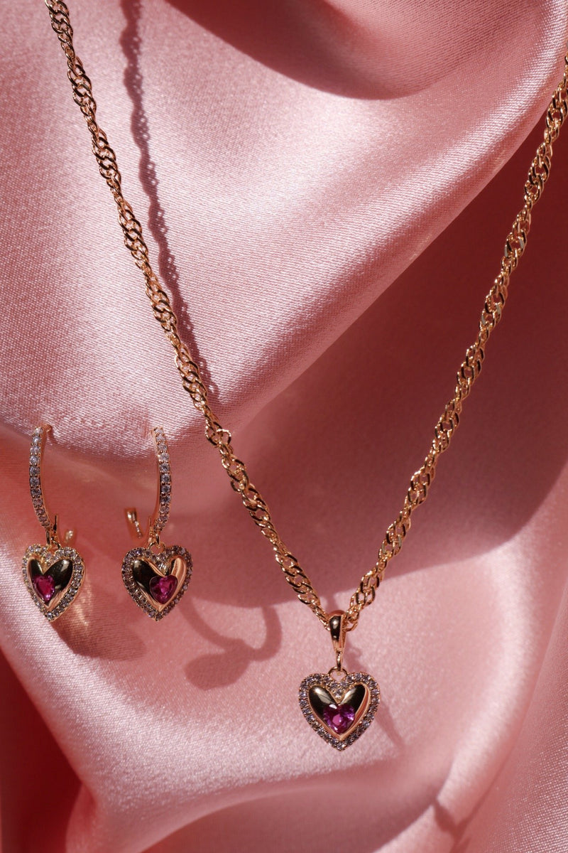 gold plated heart necklace and earrings