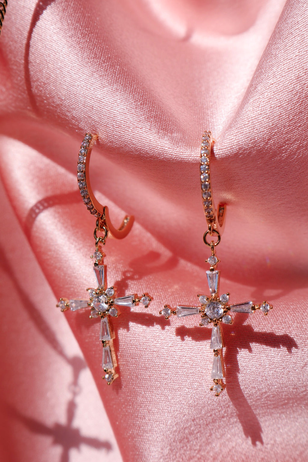 Gold Plated Cross Dangle Earrings with Cubic Zirconia