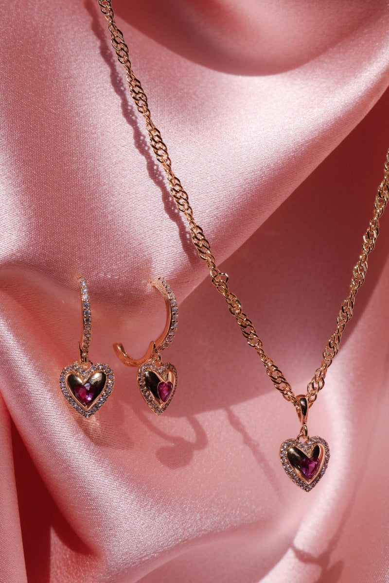 matching heart necklace and earrings set