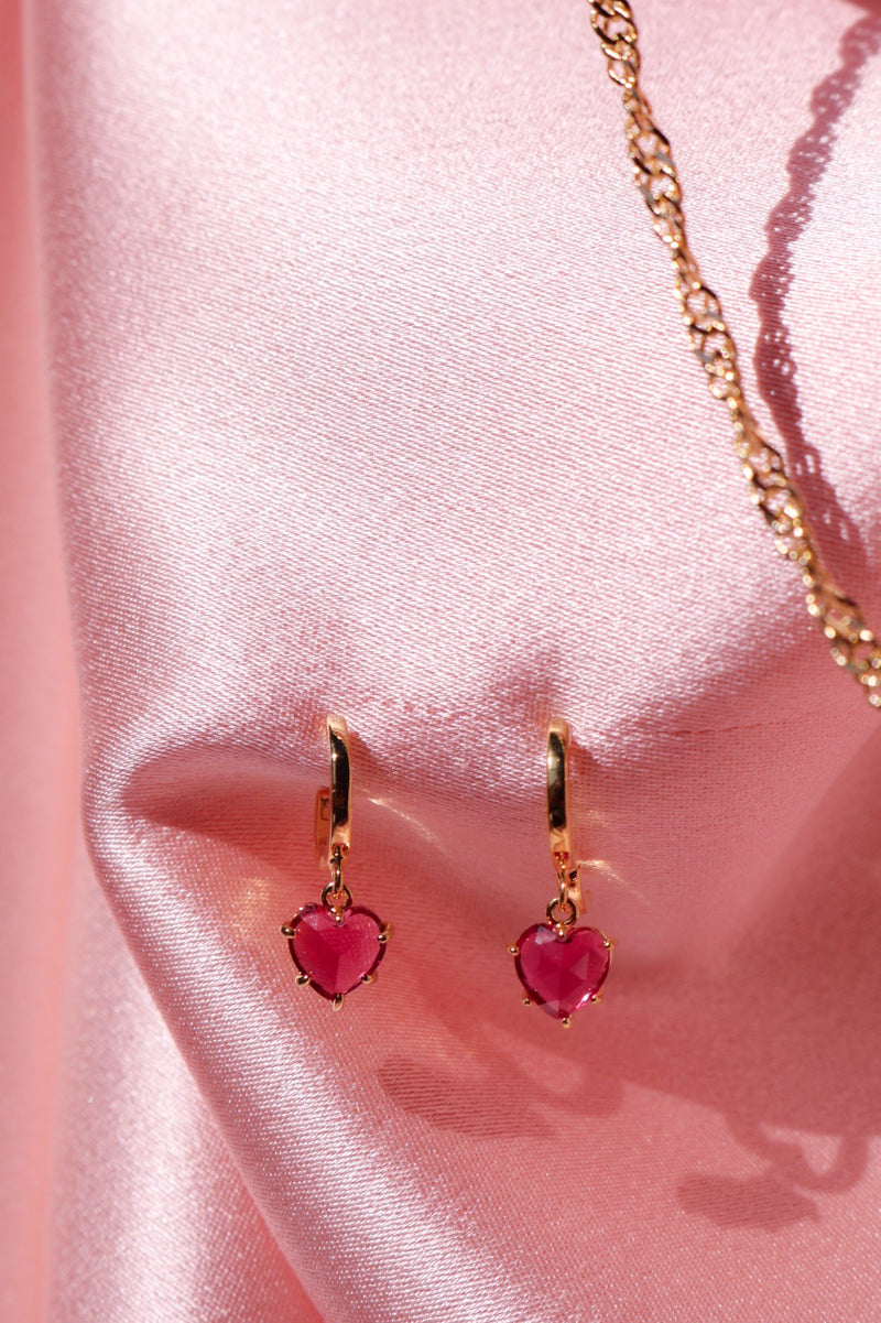 Pink Gem Heart Earrings
