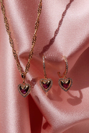 heart necklace and earrings
